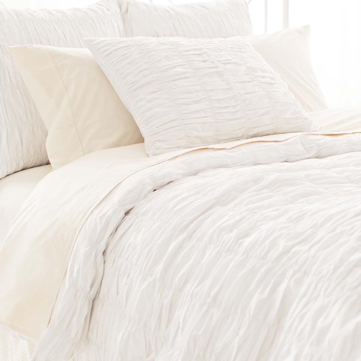 Smocked White Duvet Cover