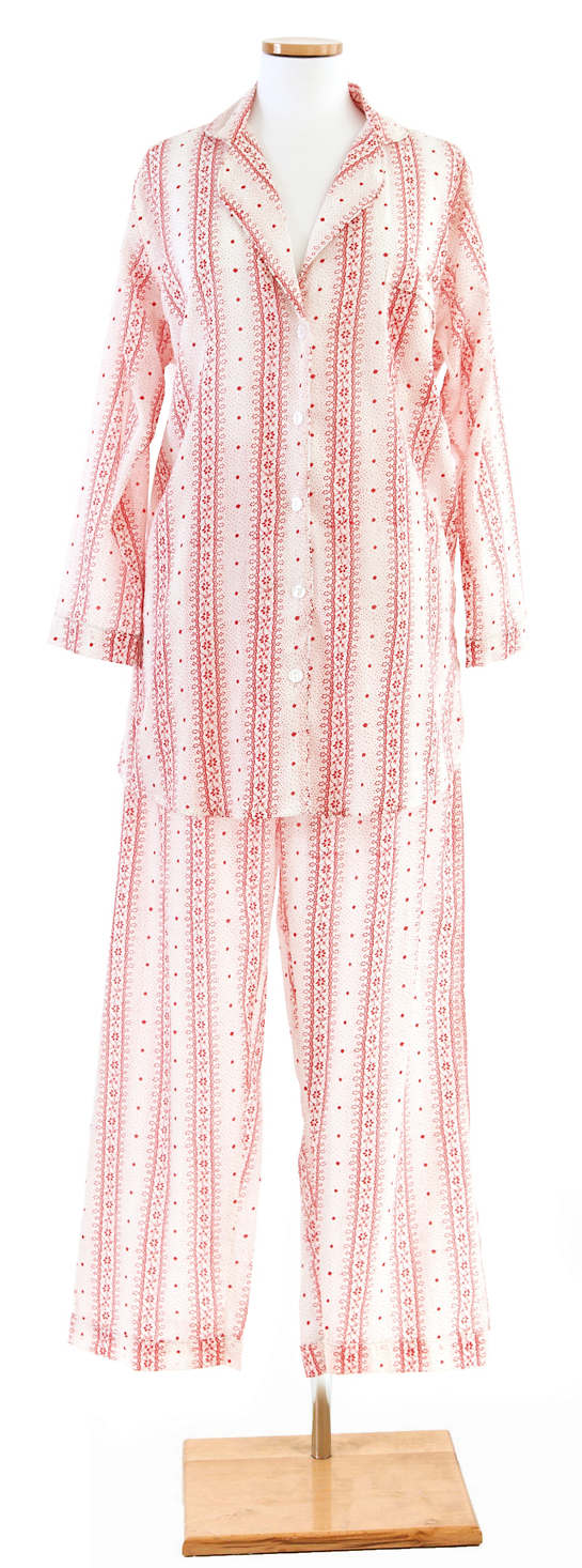 Snowflake Lace Crimson Shirt Tail Pajama