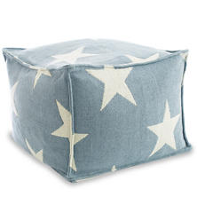 Star Swedish Blue/Ivory Indoor/Outdoor Pouf