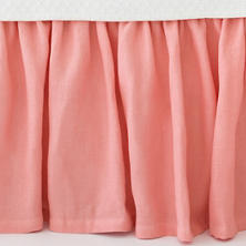 Stone Washed Linen Coral Paneled Bed Skirt