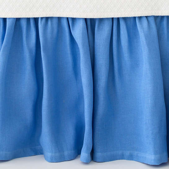 Stone Washed Linen French Blue Paneled Bed Skirt