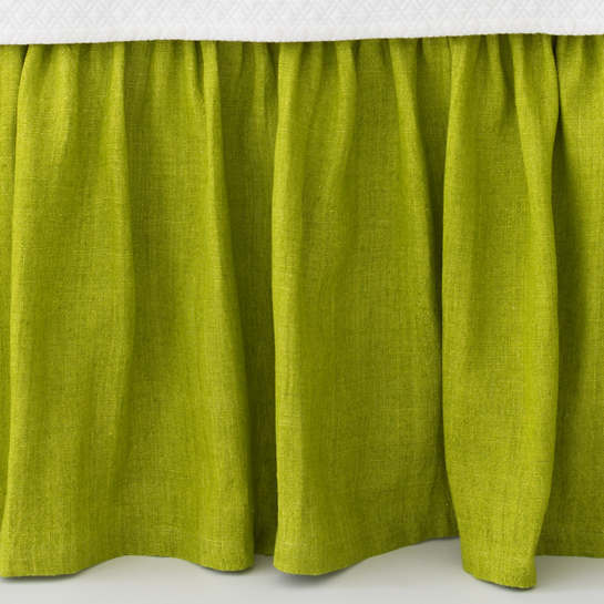 Stone Washed Linen Green Paneled Bed Skirt
