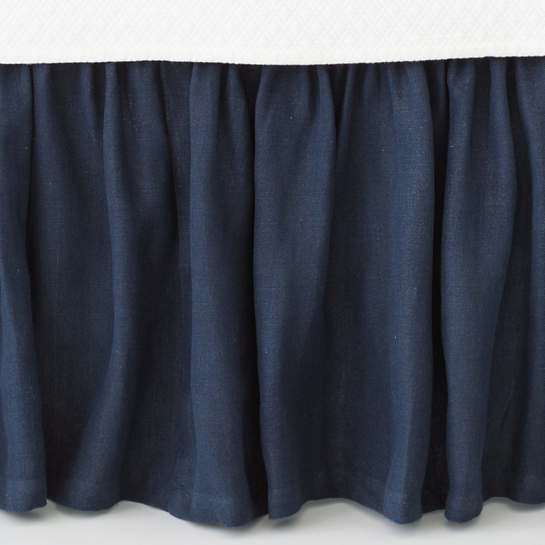 Stone Washed Linen Indigo Paneled Bed Skirt