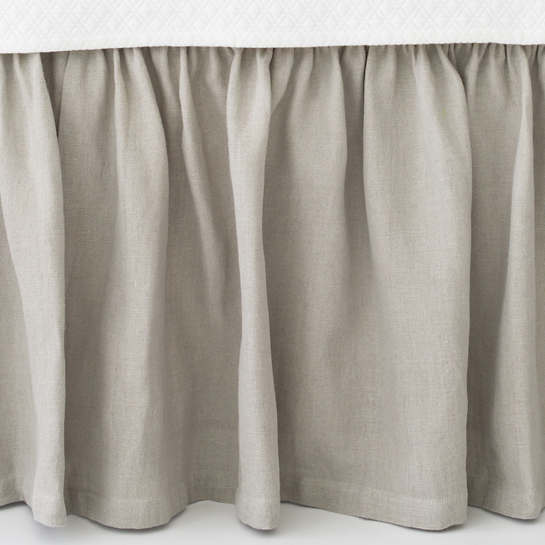 Stone Washed Linen Pearl Grey Paneled Bed Skirt