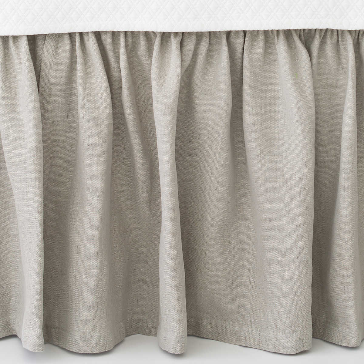 Grey Linen Bed Skirt : Stone washed linen pearl grey paneled bed skirt the outlet