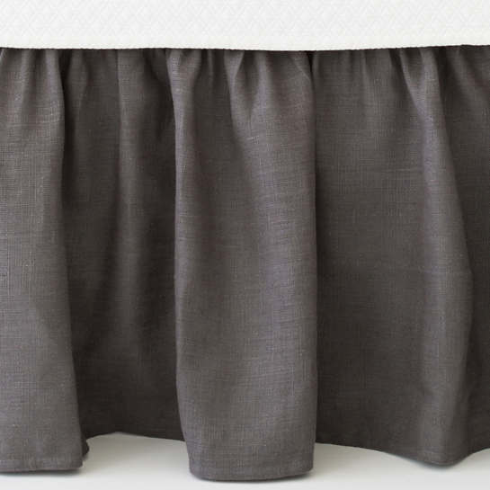 Stone Washed Linen Shale Paneled Bed Skirt