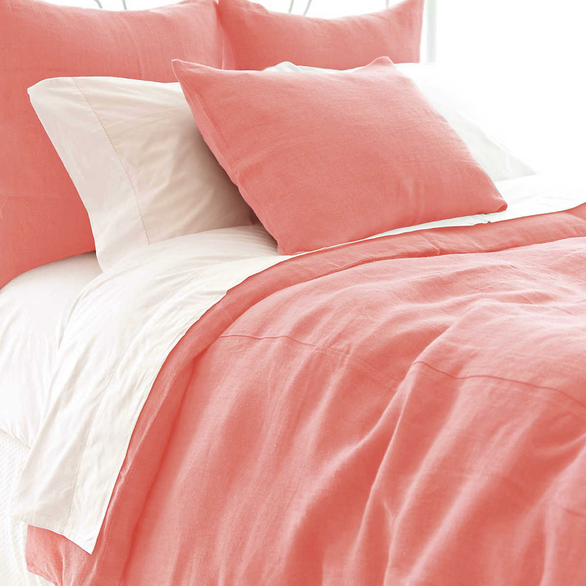 Stone Washed Linen Coral Duvet Cover Pine Cone Hill