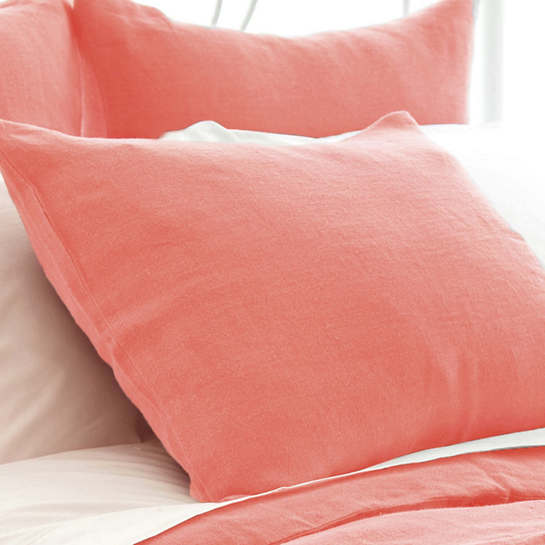 Stone Washed Linen Coral Sham