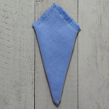 Stone Washed Linen French Blue Fringe Napkin