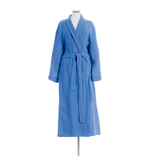Stone Washed Linen French Blue Robe