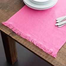 Stone Washed Linen Fuchsia Fringe Table Runner