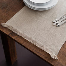 Stone Washed Linen Natural Fringe Table Runner