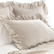 Stone Washed Linen Natural Ruffled Sham
