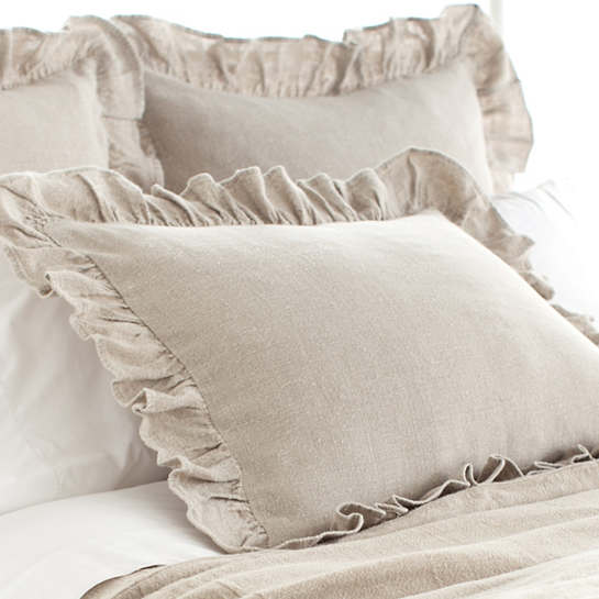 stone washed linen natural ruffled sham | pine cone hill