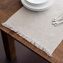 Stone Washed Linen Pearl Grey Fringe Table Runner