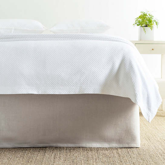 Grey Linen King Bed Skirt : Stone washed linen pearl grey tailored paneled bed skirt