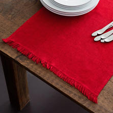 Stone Washed Linen Red Fringe Table Runner