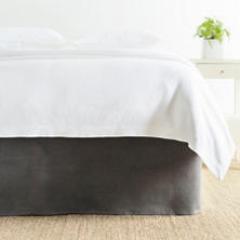 Stone Washed Linen Shale Tailored Paneled Bed Skirt