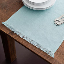 Stone Washed Linen Sky Fringe Table Runner