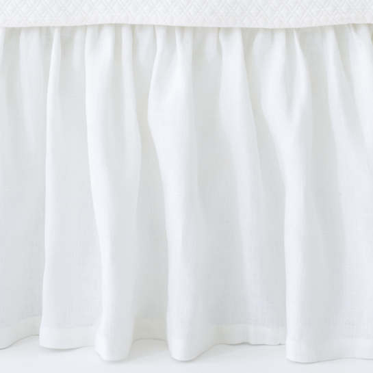 stone washed linen white paneled bed skirt