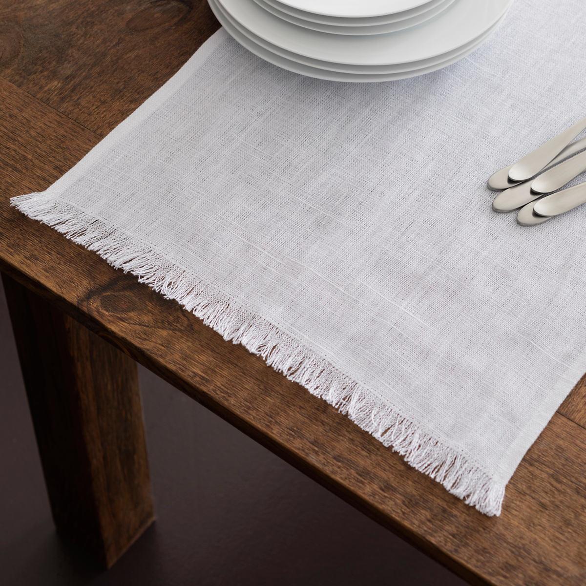 Wonderful Stone Washed Linen White Fringe Table Runner