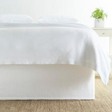 Stone Washed Linen White Tailored Paneled Bed Skirt