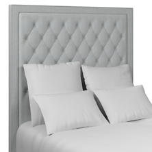 Pinstripe Navy Stonington Tufted Headboard