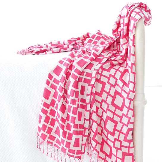 Sugari Check Fuchsia/White Throw