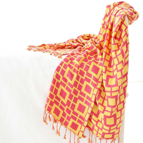 Sugari Check Fuchsia/Yellow Throw