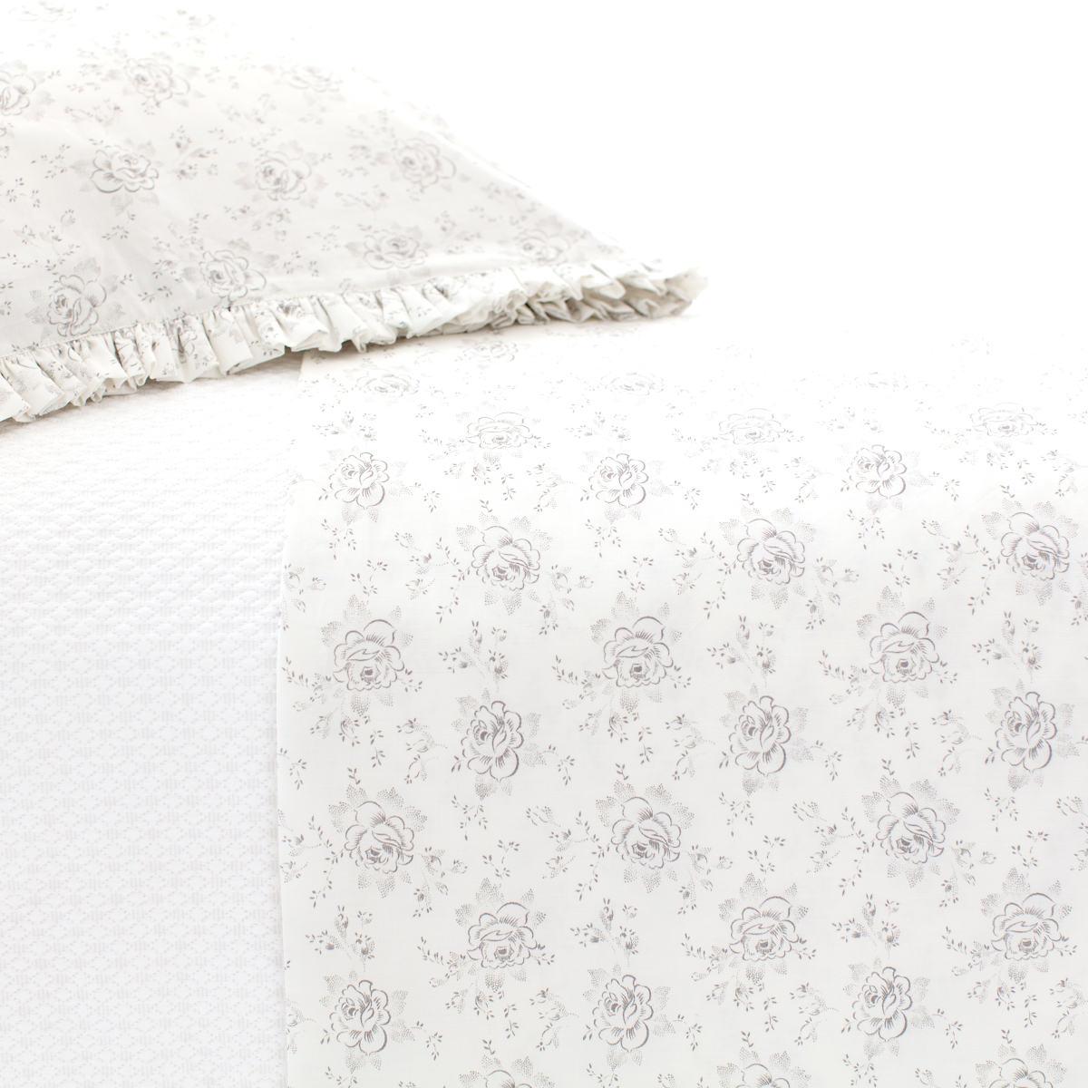Sweet Roses Grey Pillowcases (Pair)