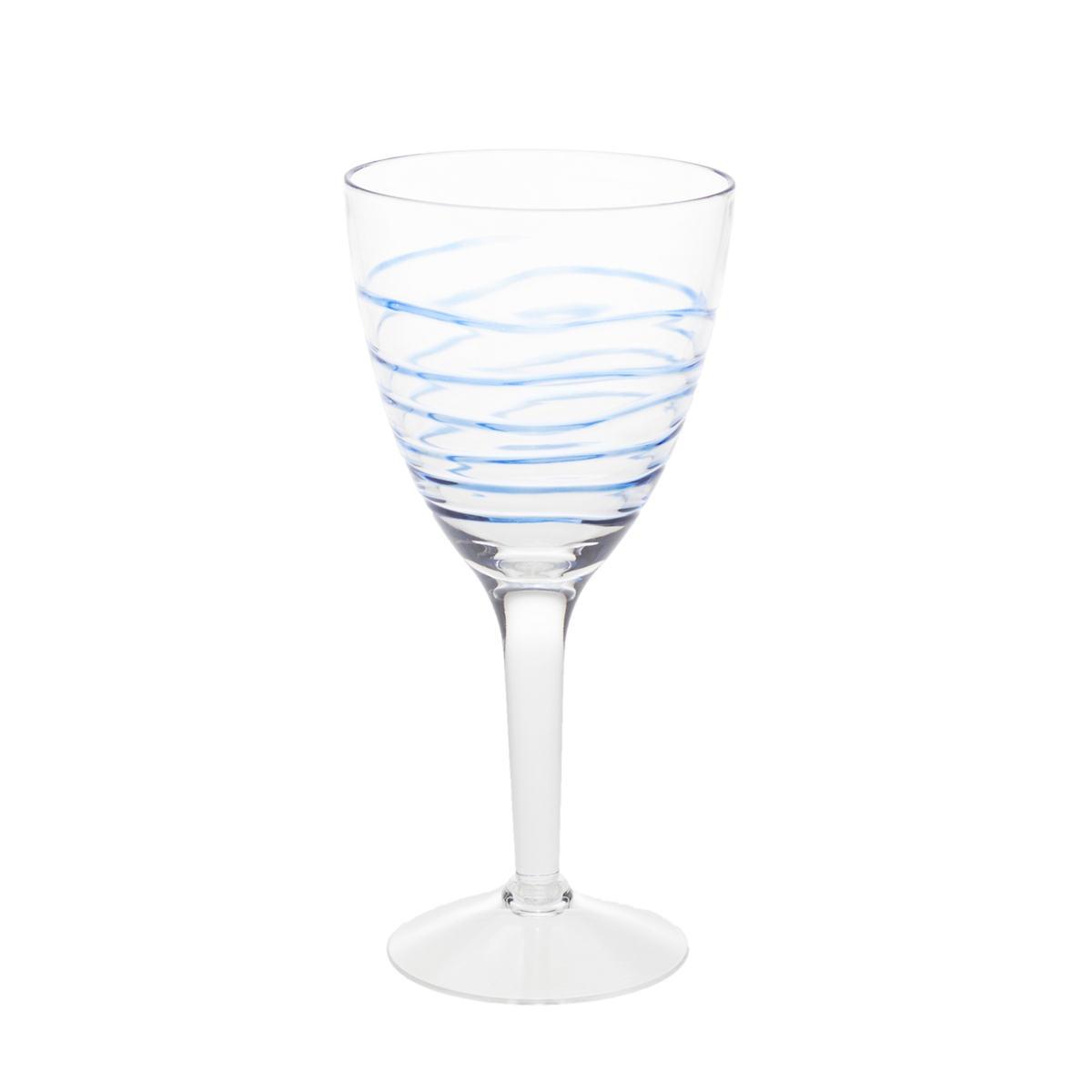 Swirl Blue Wine Glass/Set Of 4