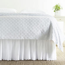 Swiss Dot Embroidered White Bed Skirt