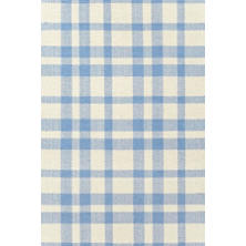Tattersall Blue/Cream Woven Cotton Rug