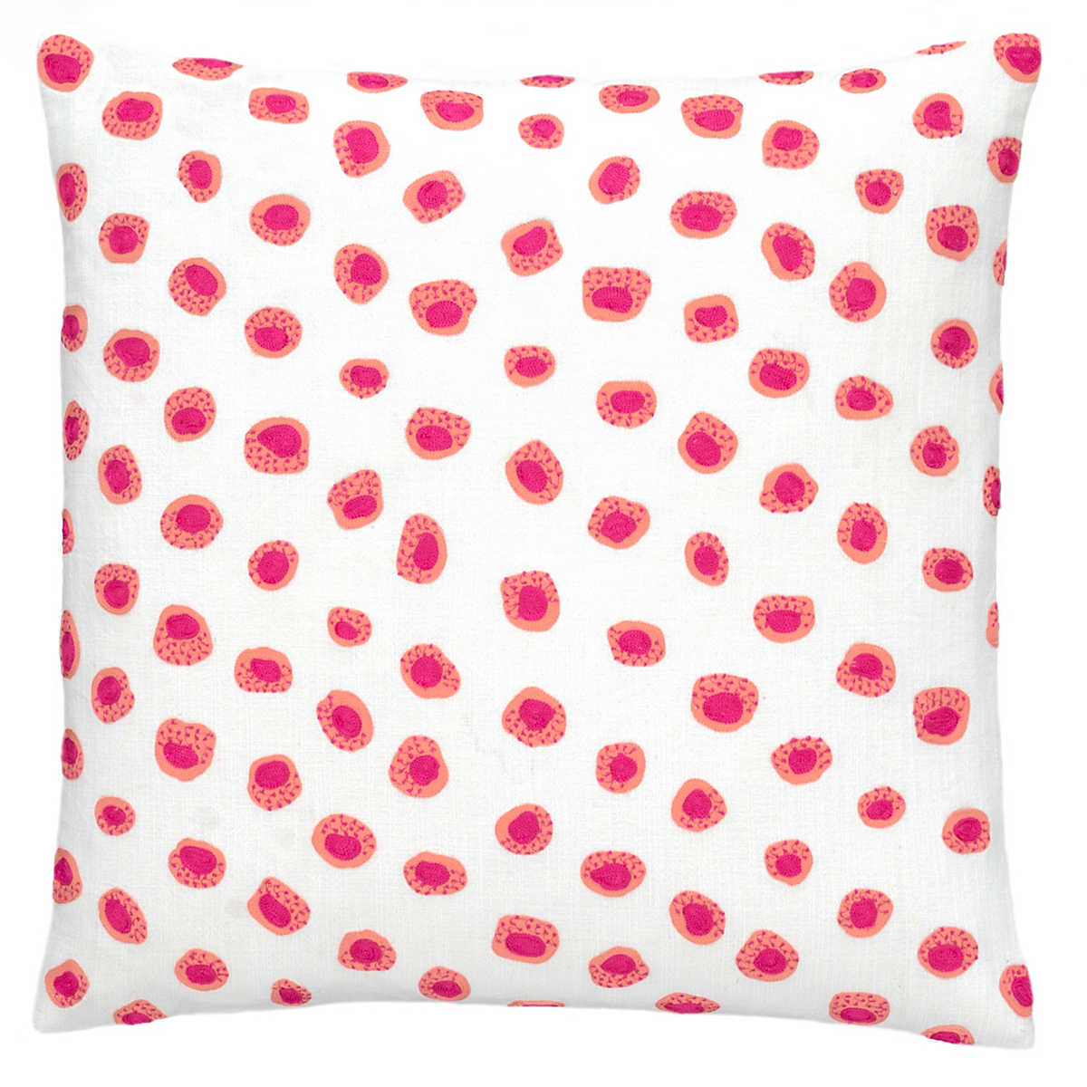 thumbprint coralfuchsia embroidered decorative pillow - Coral Decorative Pillows
