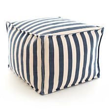 Trimaran Stripe Navy/Ivory Indoor/Outdoor Pouf