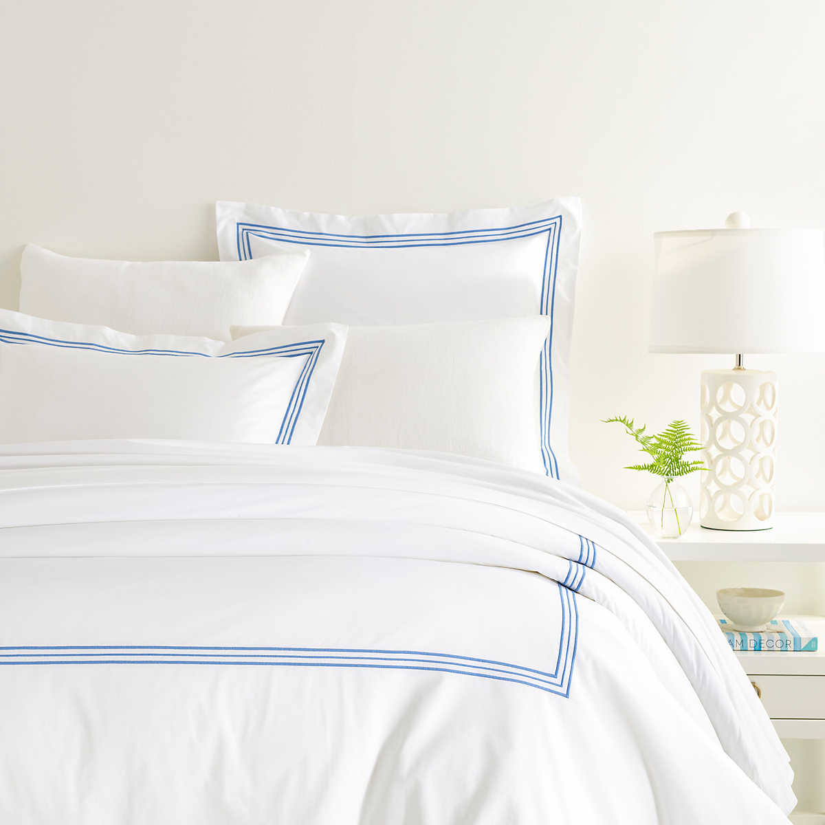 Trio French Blue Duvet Cover Pine Cone Hill