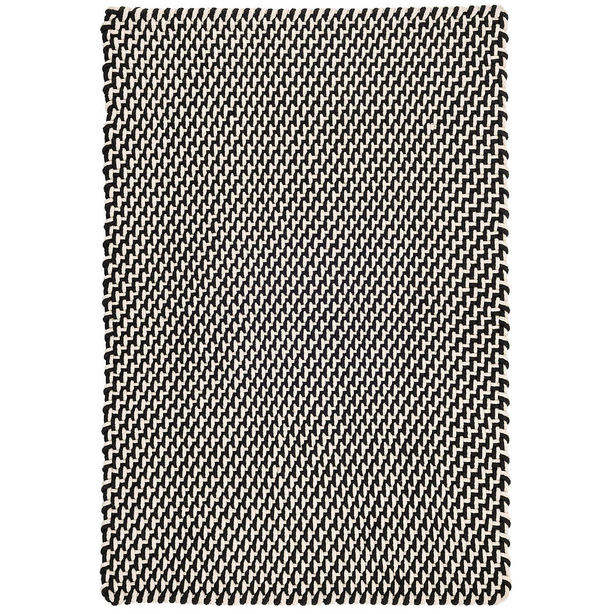 Black And White Patio Rug Part - 29: Two-Tone Rope Black/Ivory Indoor/Outdoor Rug