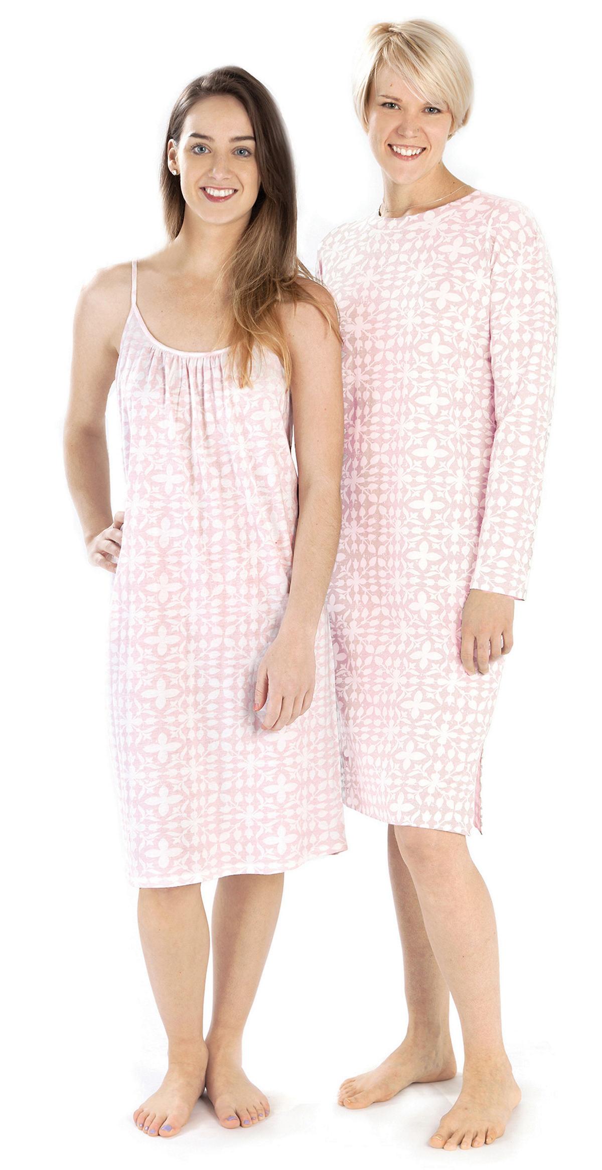 Veena Pink Crew Neck Nightdress