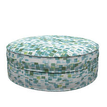 Villa Tile Green Palm Court Ottoman