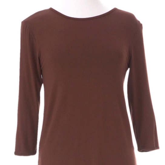 Willow Knit Chocolate 3/4 Sleeve Top