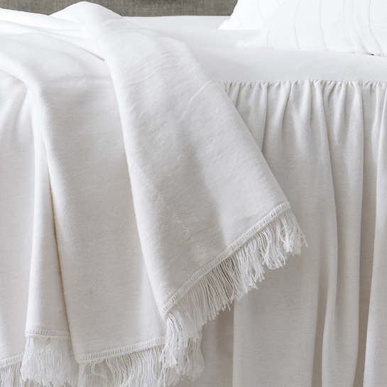 Windsor White Fringed Fleece Throw