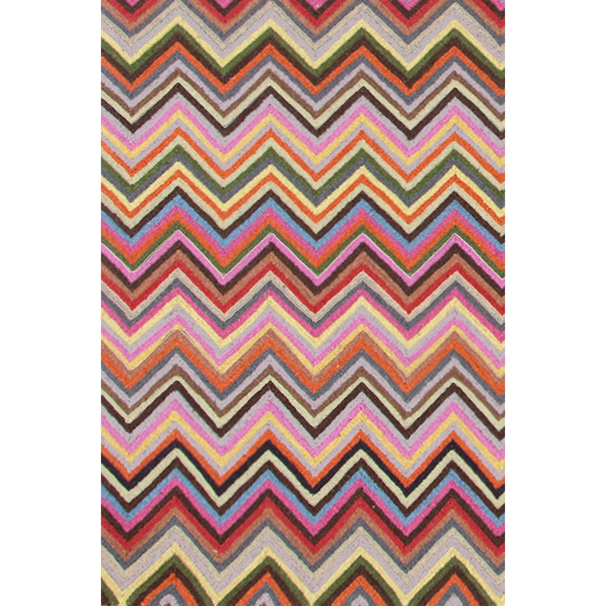 Gypsy Stripe Turquoise Grey Woven Cotton Rug: Zigzag Multi Micro Hooked Rug