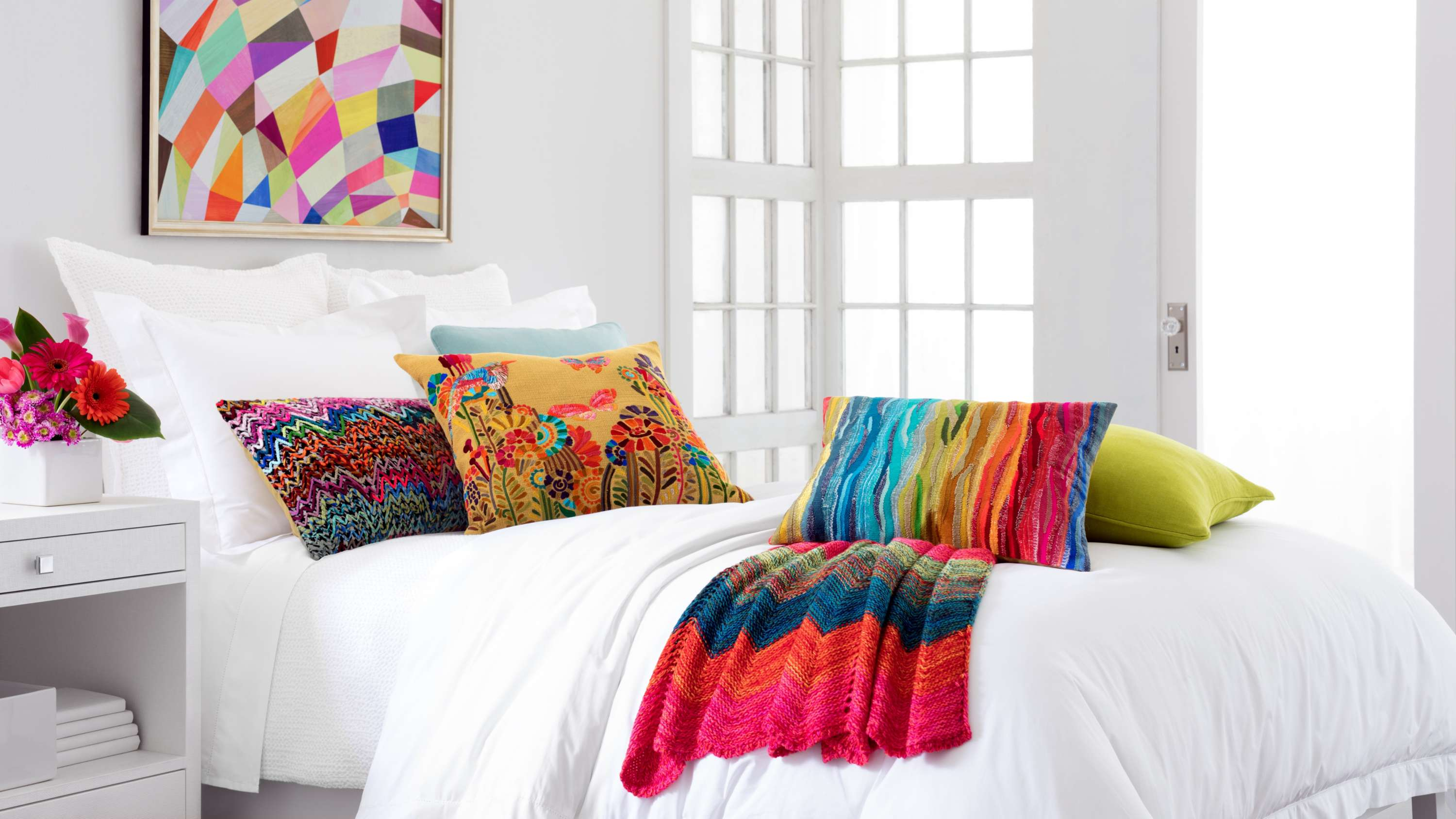 How to Add Pops of Color to an All White Bedroom   Fresh American