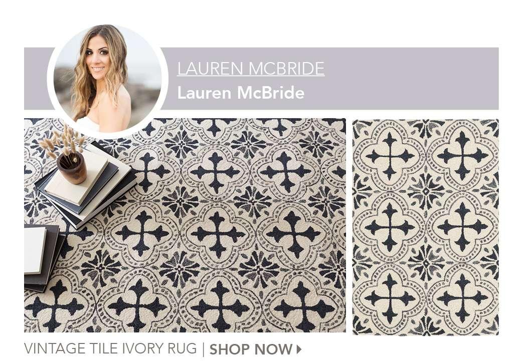 Vintage Tile Ivory Rug by Lauren McBride. Shop Now.