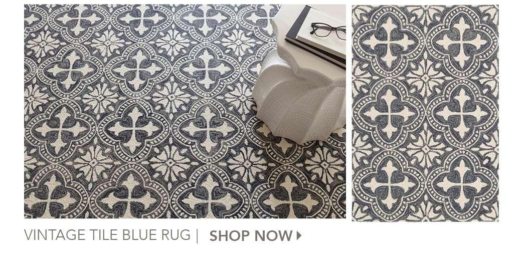 Vintage Tile Blue Rug by Lauren McBride. Shop Now.