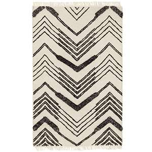 Tasha Ivory/Black Woven Wool Rug