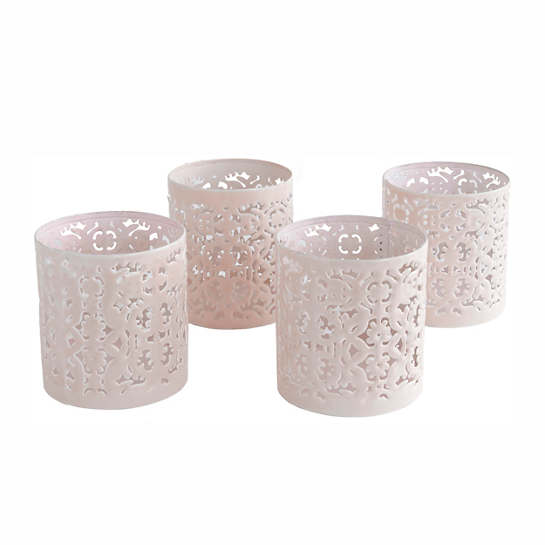 Light Pink Labyrinth Votives/Set Of 4