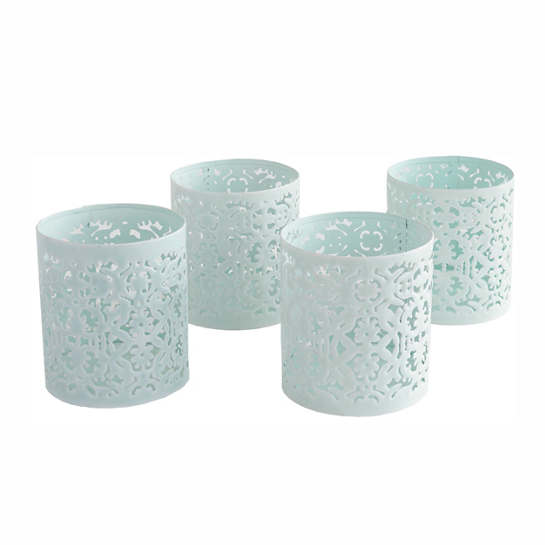 Robin's Egg Blue Labyrinth Votives/Set Of 4
