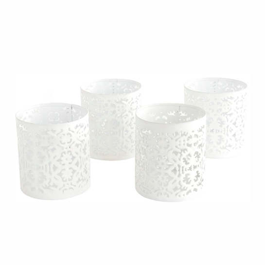 White Labyrinth Votives/Set Of 4