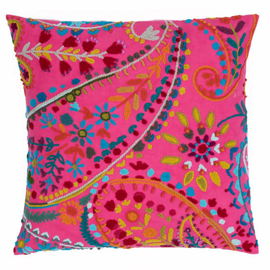 Amelie Fuchsia Embroidered Decorative Pillow